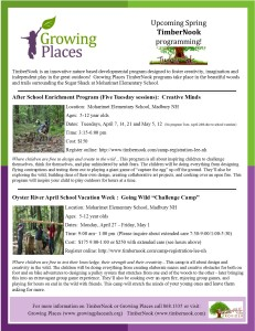 Growing Places TimberNook Spring 2015 flyer